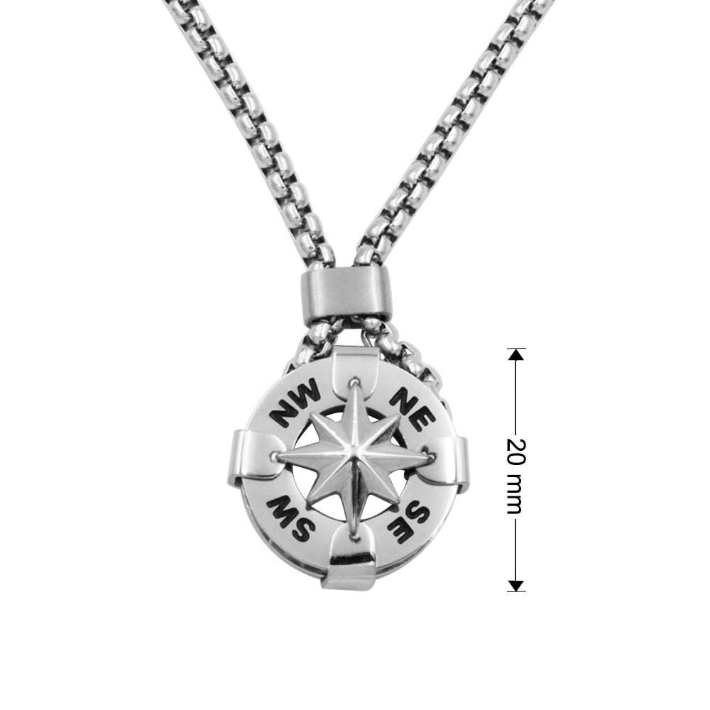 Catena Compass Rock Collana Rose Compass Pendant