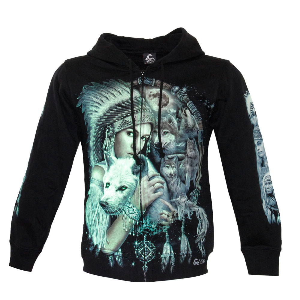 Hoodie Glow in the Dark Wolf and Native American