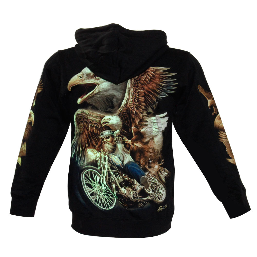 Hoodie with Eagle Glow in the Dark