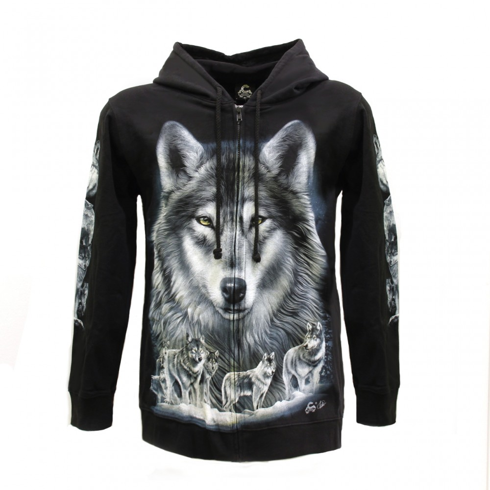 Hoodie with wolf Glow in the Dark