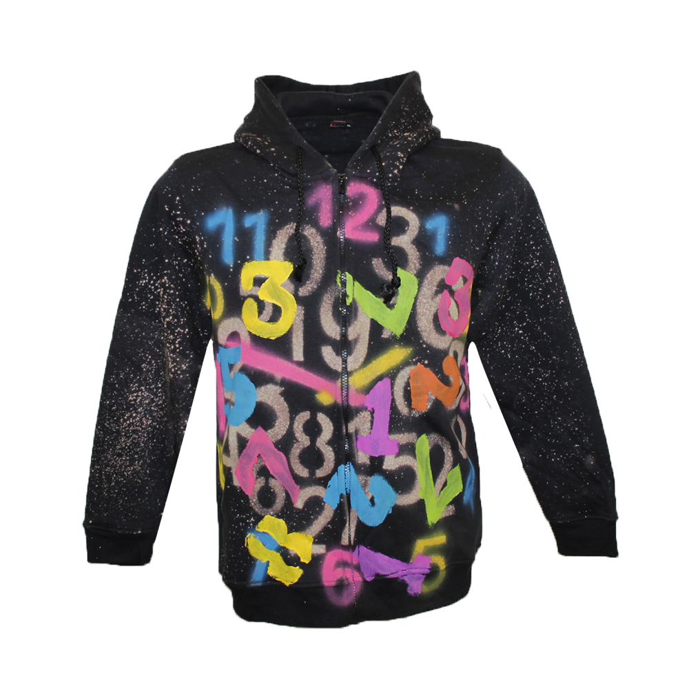 Hoodie  colorful letters and numbers Splash paint