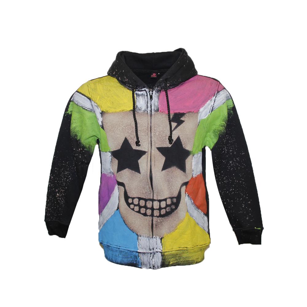 Hoodie  colorful skull Splash paint