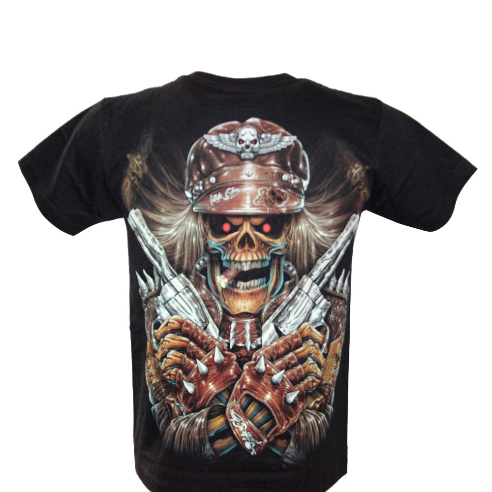 T-shirt Skull and Gun Effect 3D and Noctilucent with Piercing