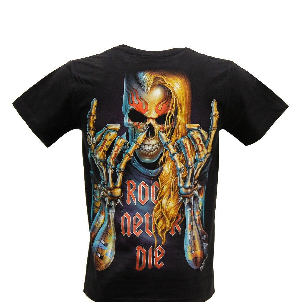 T-shirt Rock Never Die Effect 3D and Noctilucent with Piercing