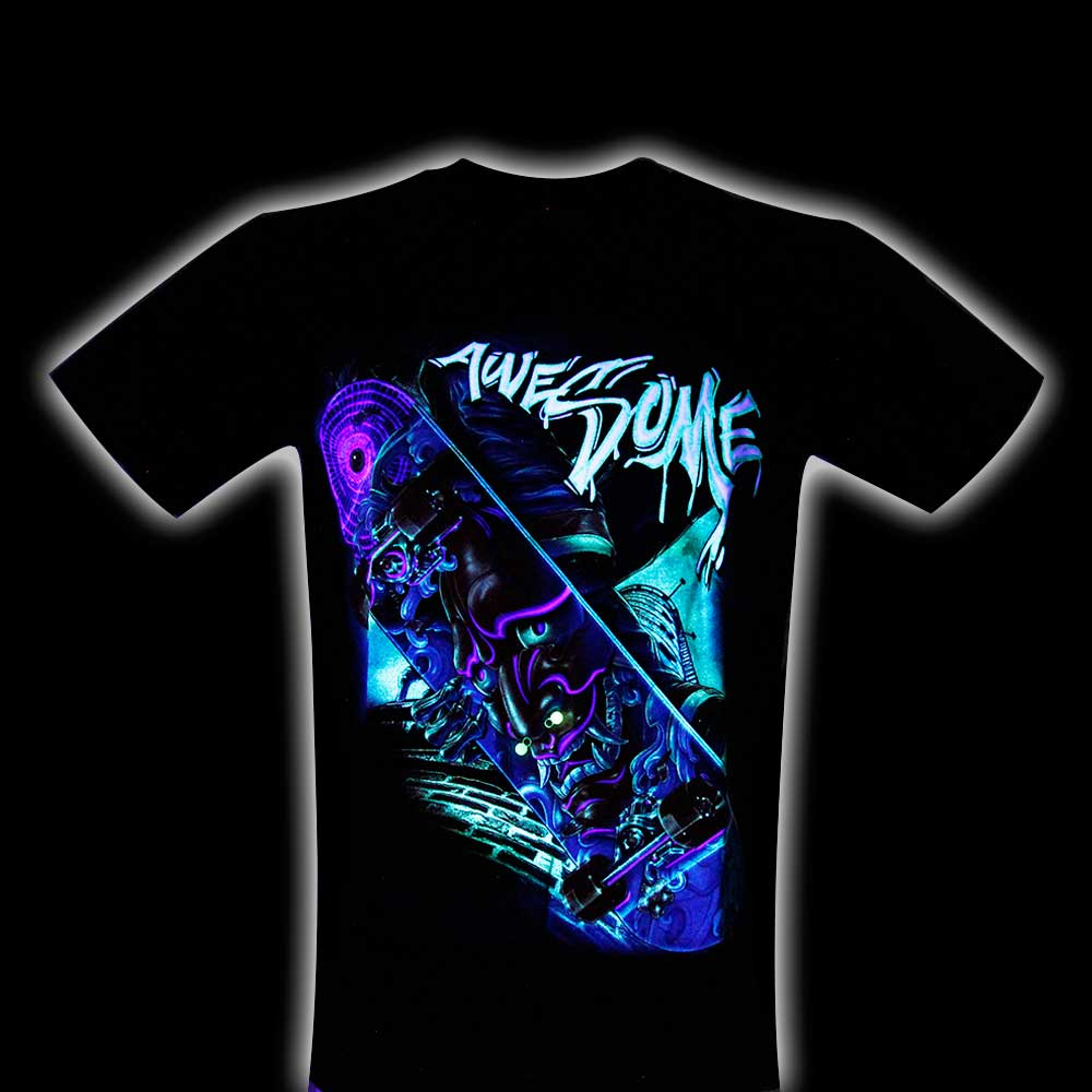 T-shirt Skateboard Demon Face Effect 3D and Noctilucent with Piercing