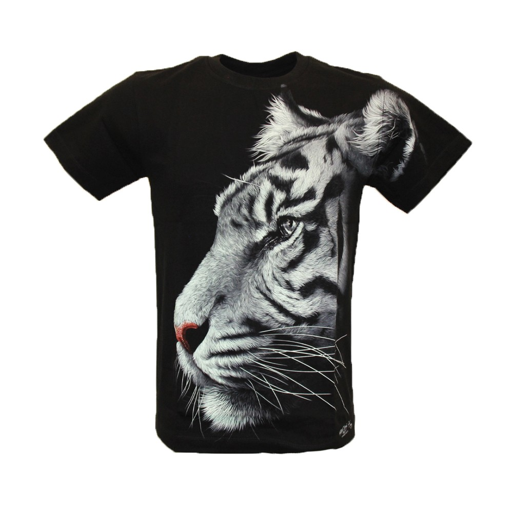 T-shirt White Tiger Effect 3D and Noctilucent