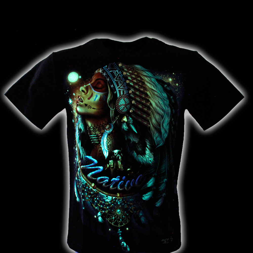 T-shirt Indian Effect 3D and Noctilucent with Piercing