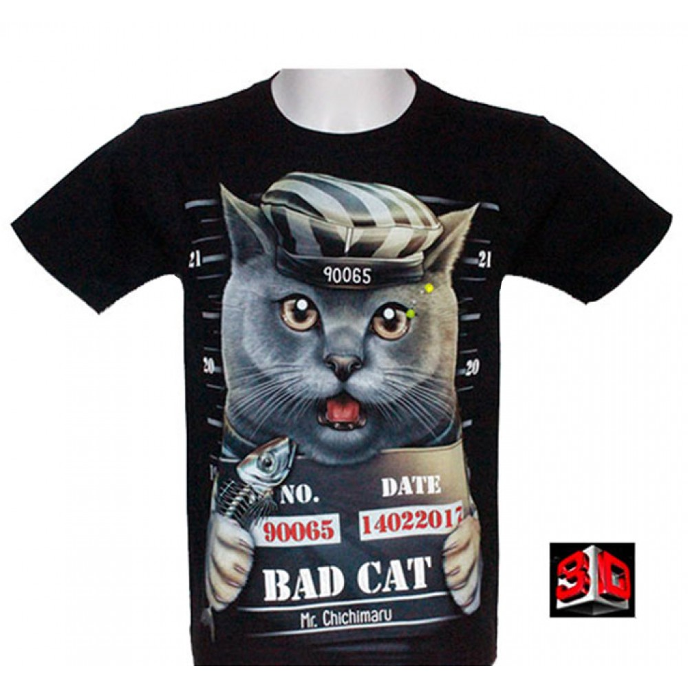 T-shirt Cat Effect 3D Noctilucent with Piercing