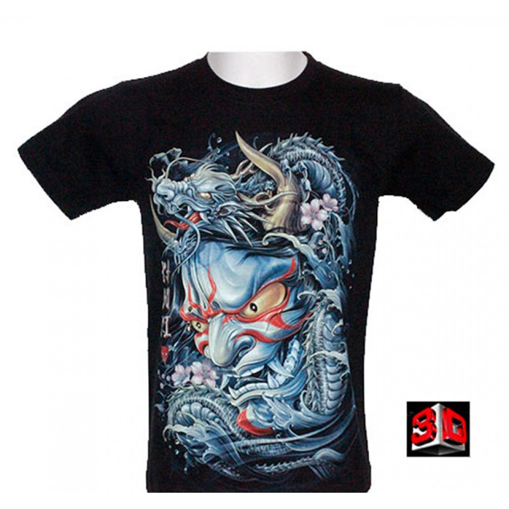 T-shirt 3D with Piercing Dragon and Demon Glow in the Dark