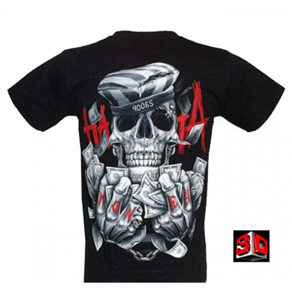 T-shirt Greedy Skull Effect 3D and Noctilucent with Piercing
