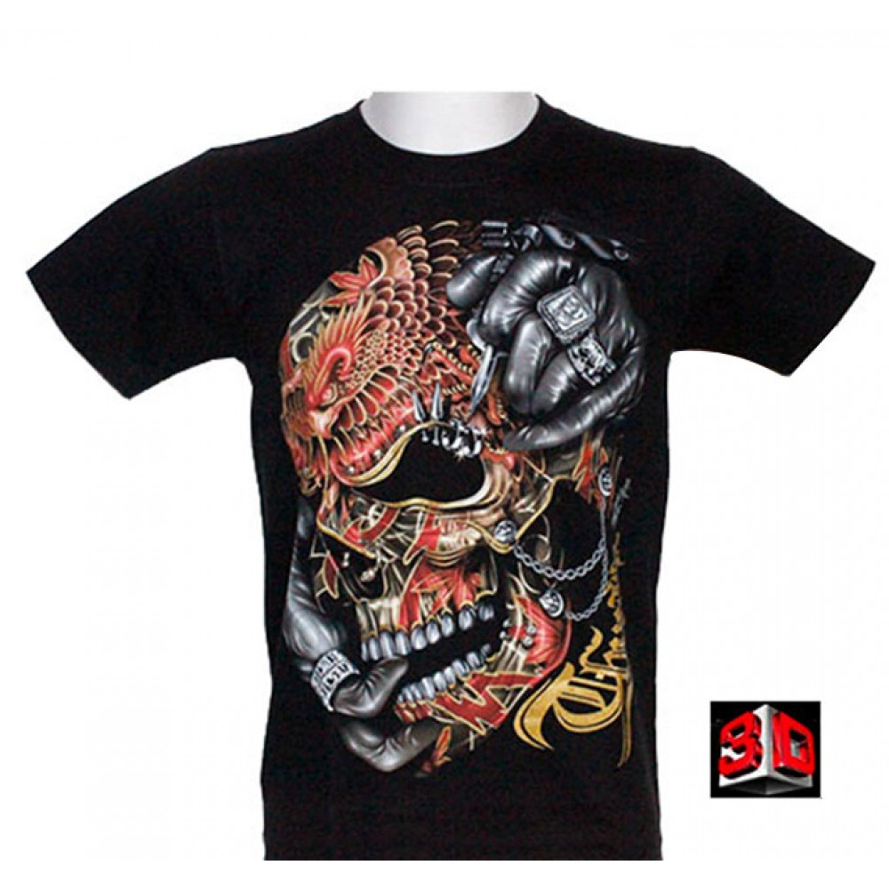 T-shirt Death Tattoo Effect 3D and Noctilucent with Piercing