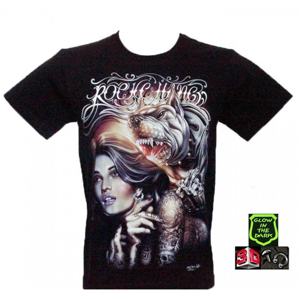 T-shirt Woman and Dog Effect 3D and Noctilucent with Piercing