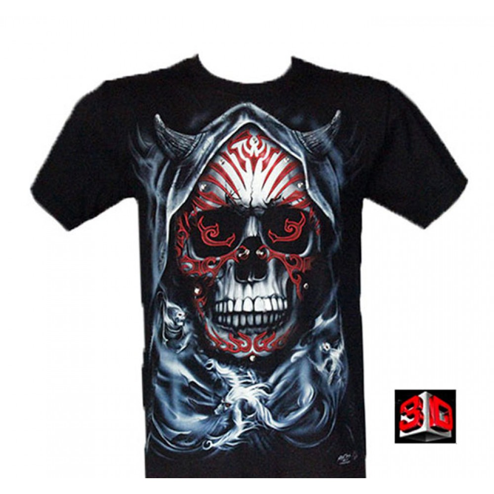 T-shirt Skull of Death Effect 3D and Noctilucent with Piercing