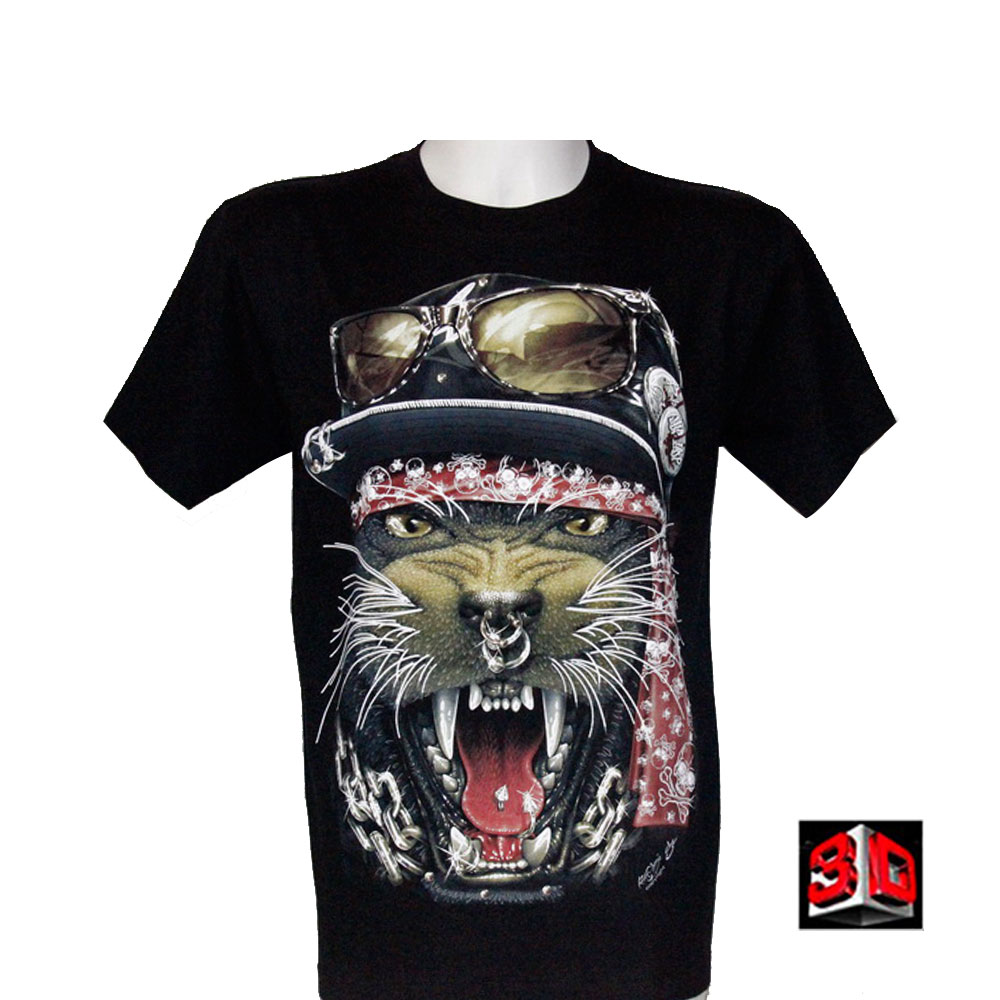T-shirt Wolf Effect 3D and Noctilucent with Piercing