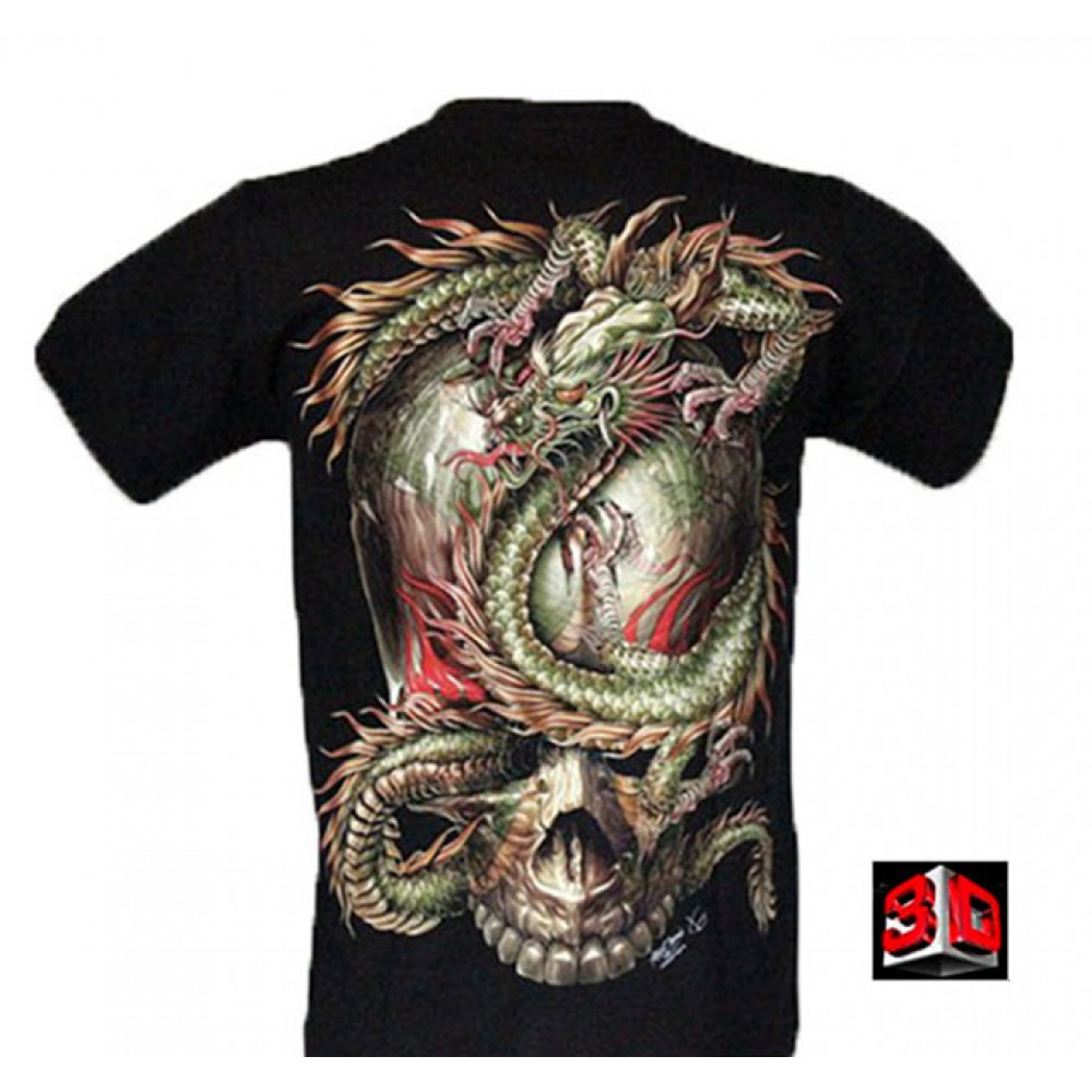 T-shirt 3D with Piercing Skull and Dragon