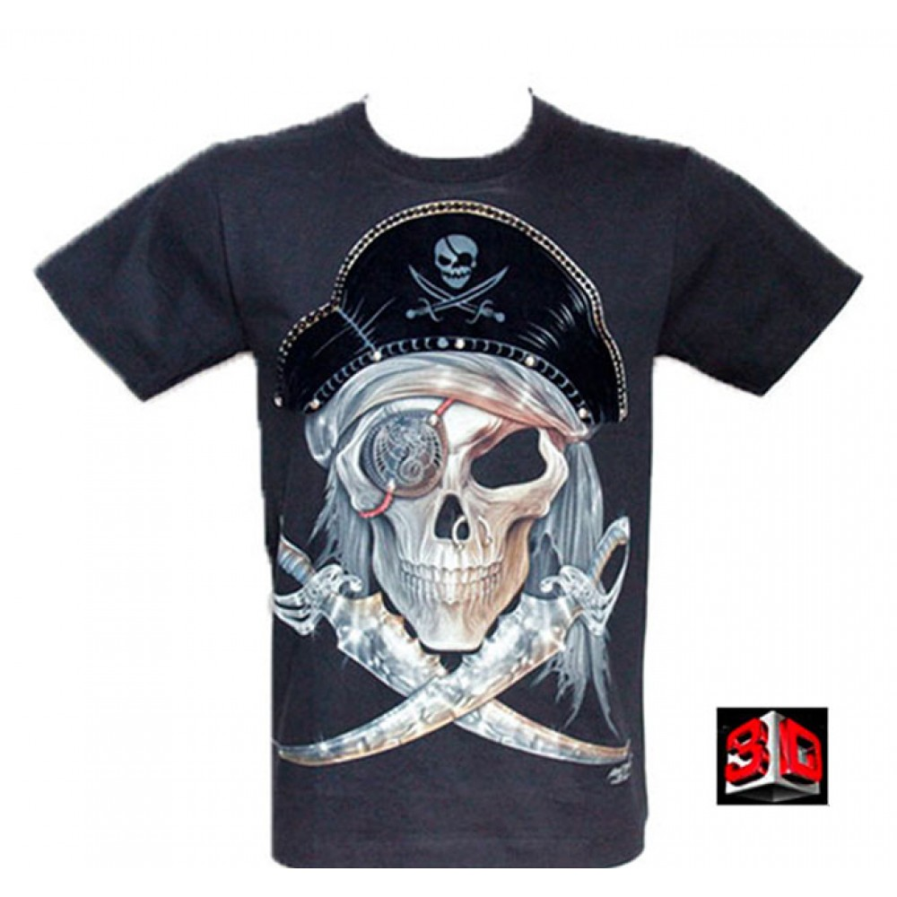 T-shirt Capitain's Skull Effect 3D and Noctilucent with Piercing