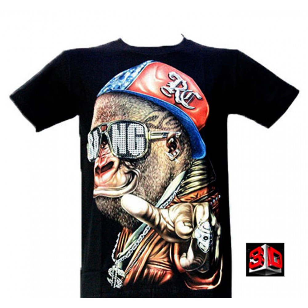 T-shirt Gangster Gorilla Effect 3D and Noctilucent with Piercing