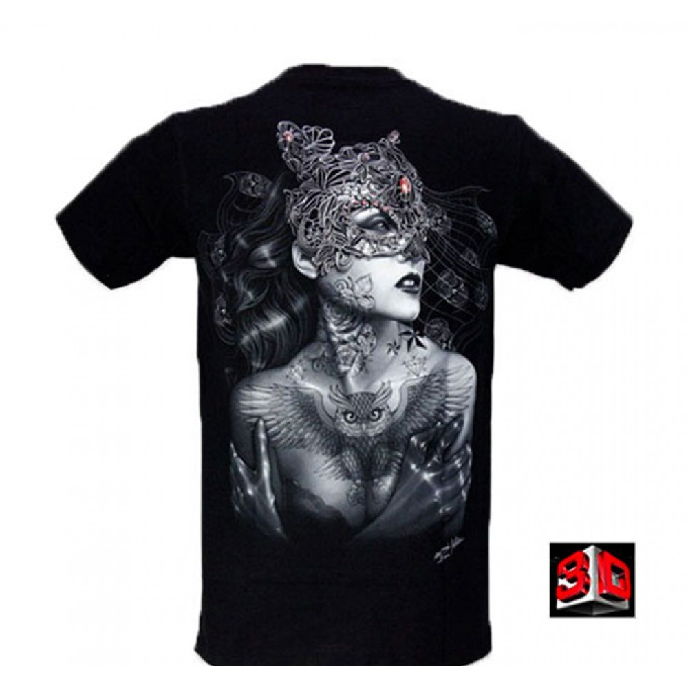 T-shirt Woman with Mask Effect 3D and Noctilucent with Piercing