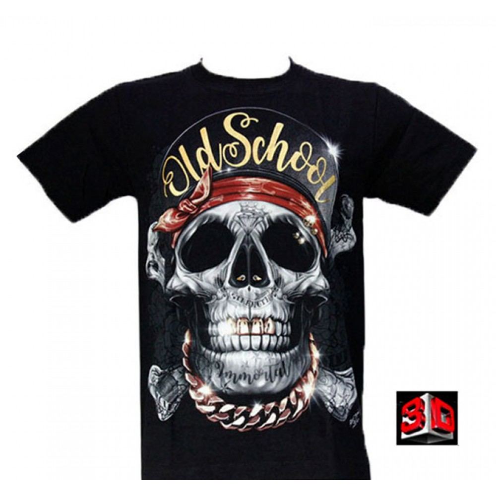 T-shirt Old School Pirate Skull Effect 3D and Noctilucent with Piercing