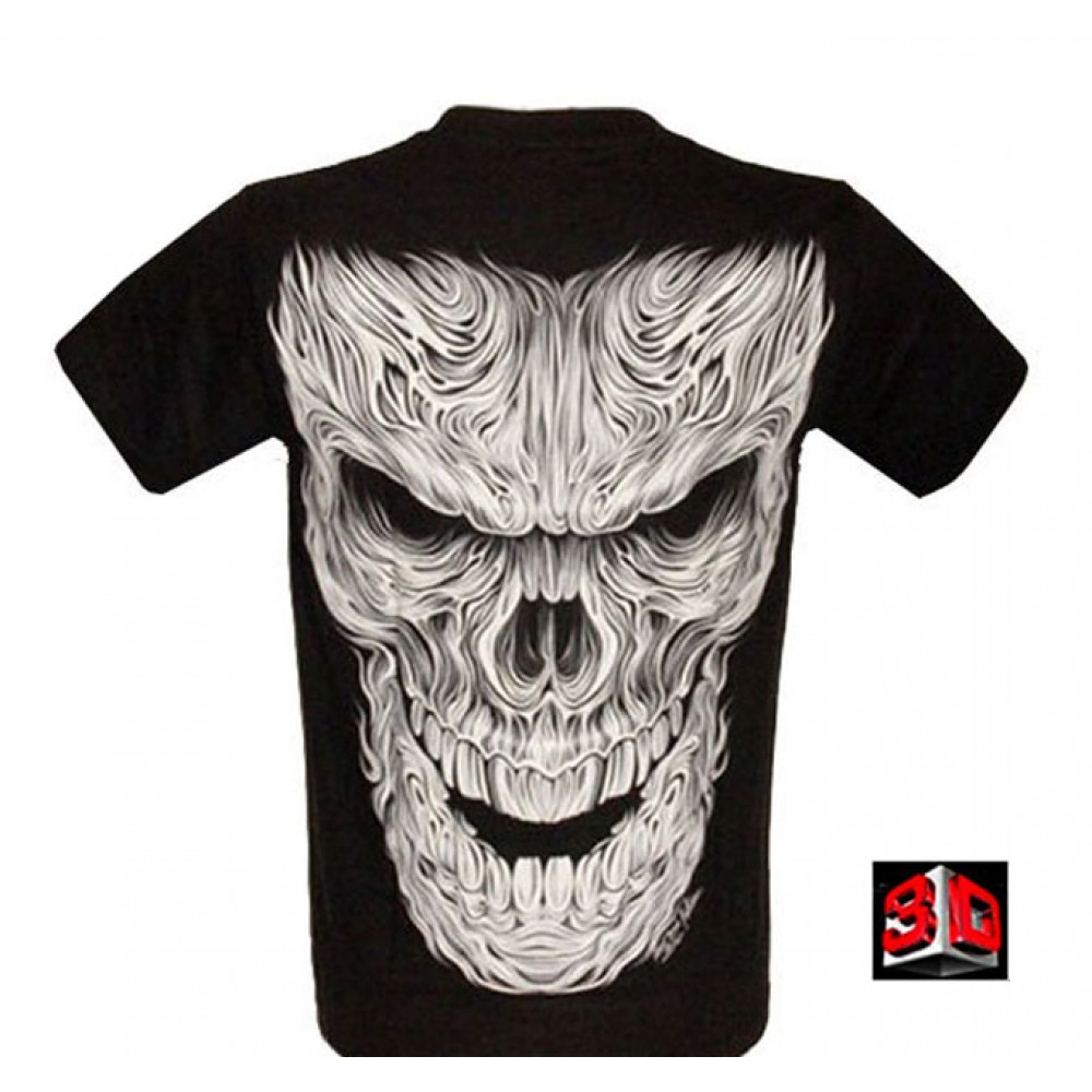 T-shirt Demon Face Effect 3D and Noctilucent with Piercing