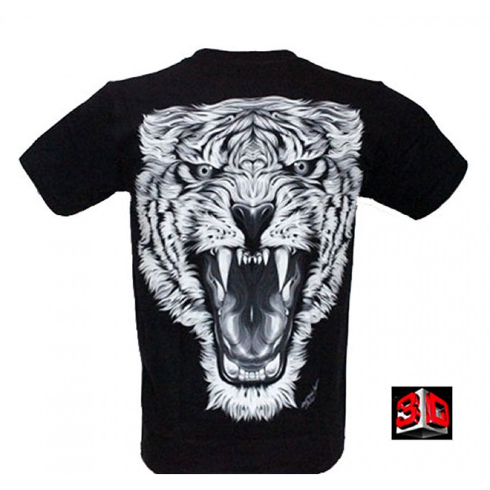 T-shirt Tiger Effect 3D and Noctilucent with Piercing