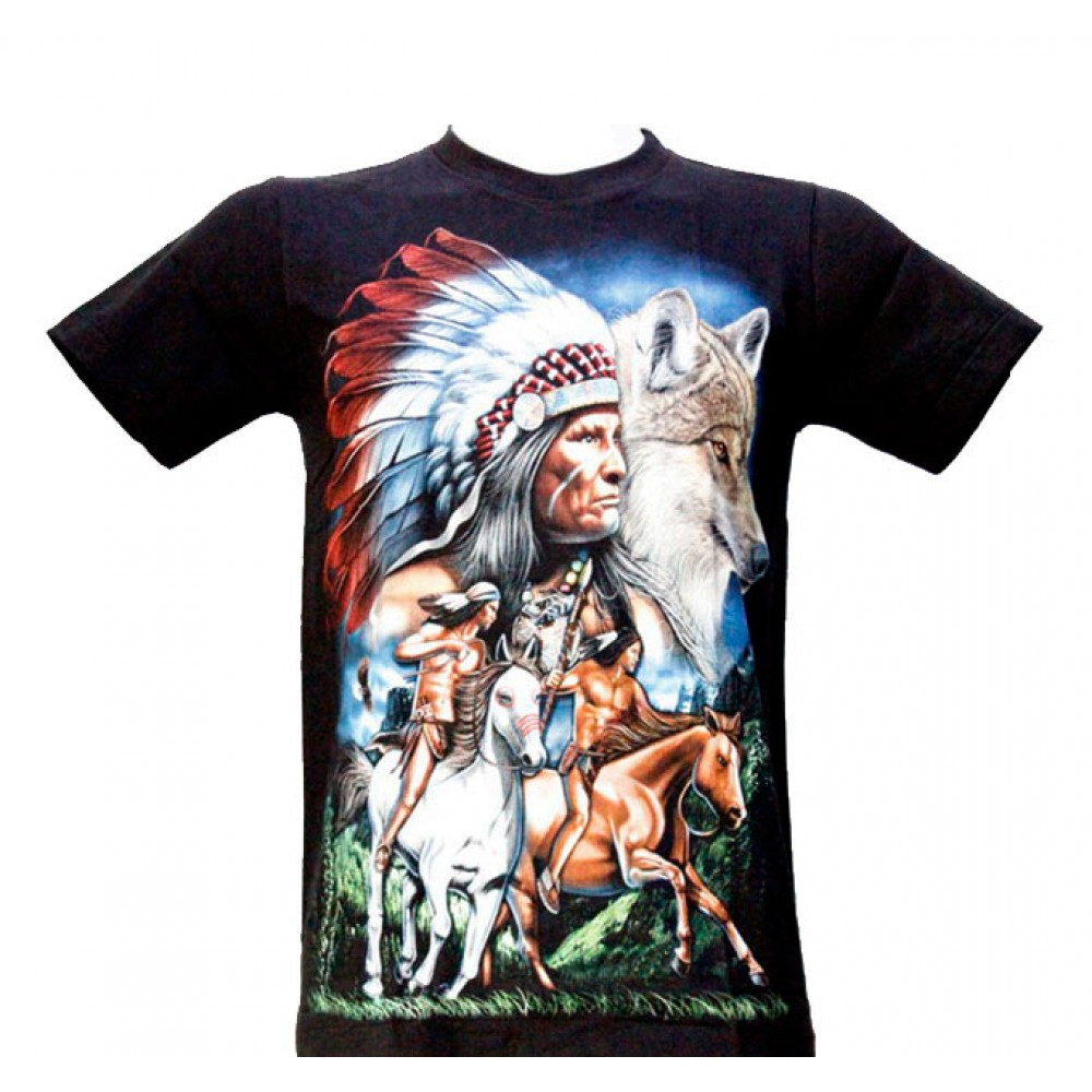 T-shirt Indian and Wolf