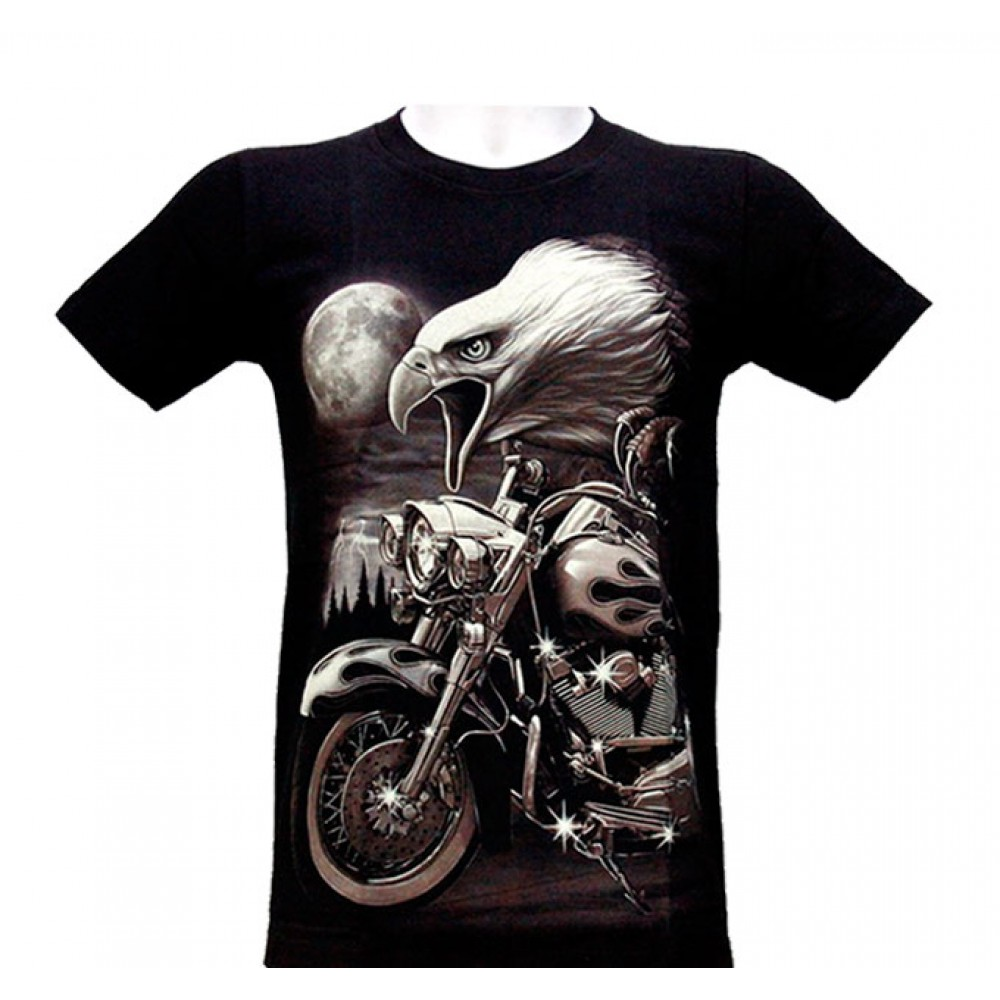 T-shirt Motorcycle with Golden Eagle