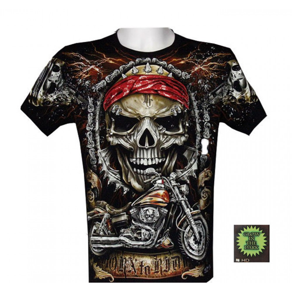 T-shirt F-HD Skull and Motorcycle