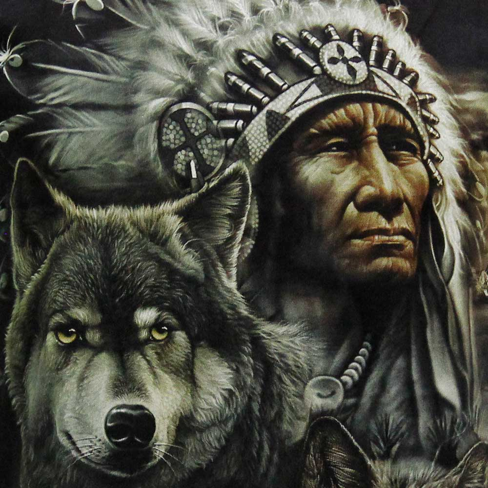 T-shirt Noctilucent Native Americans and Wolves
