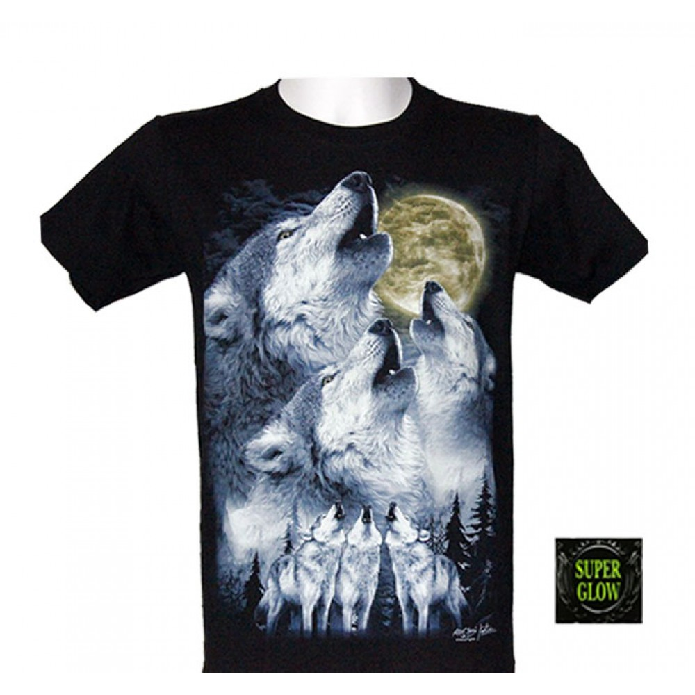 T-shirt Noctilucent Howling Wolf