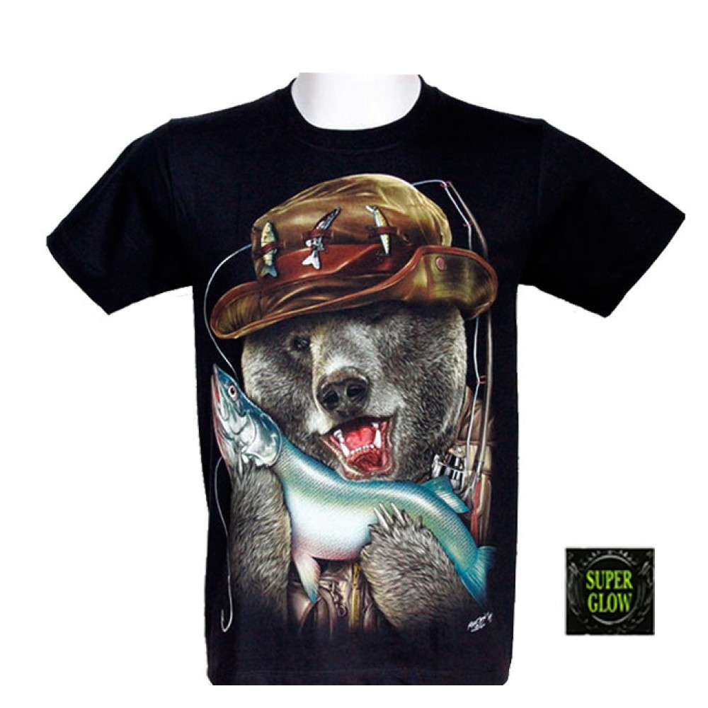 T-shirt Noctilucent Fisherman Bear