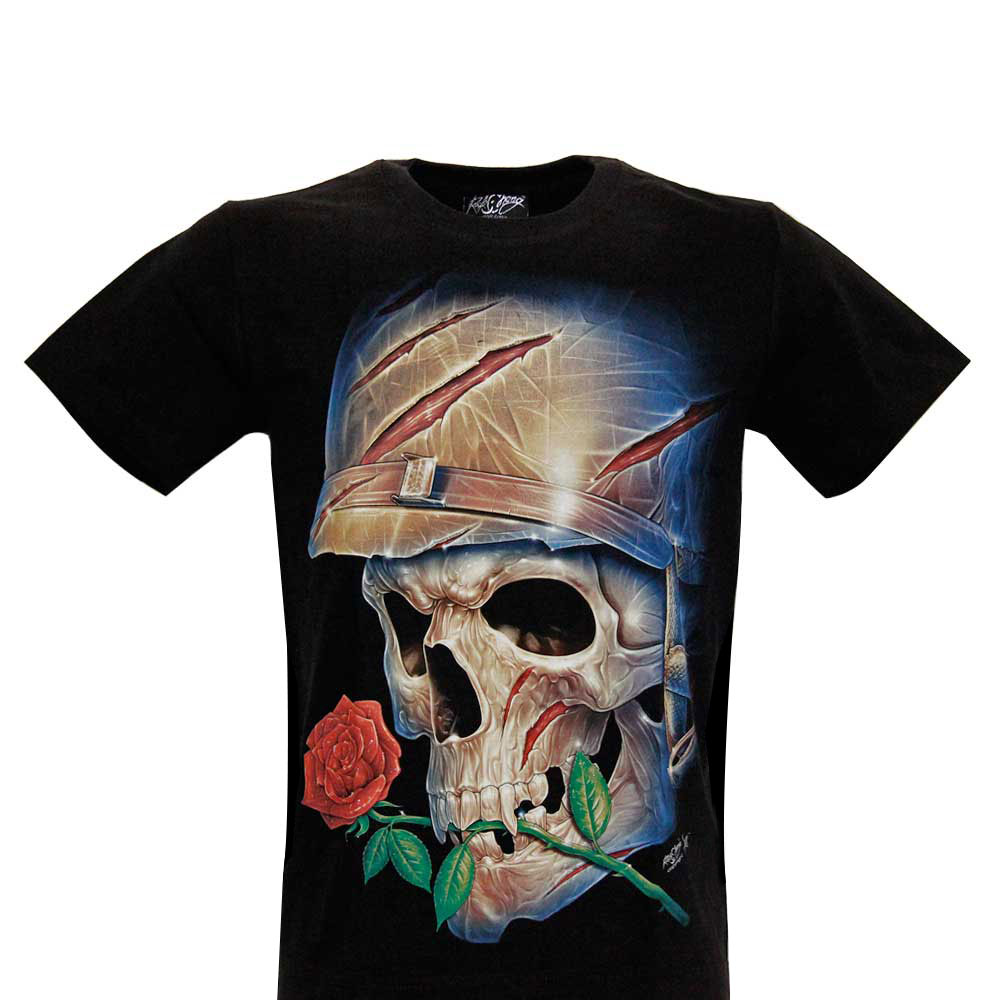 T-shirt Noctilucent Skull with Roses