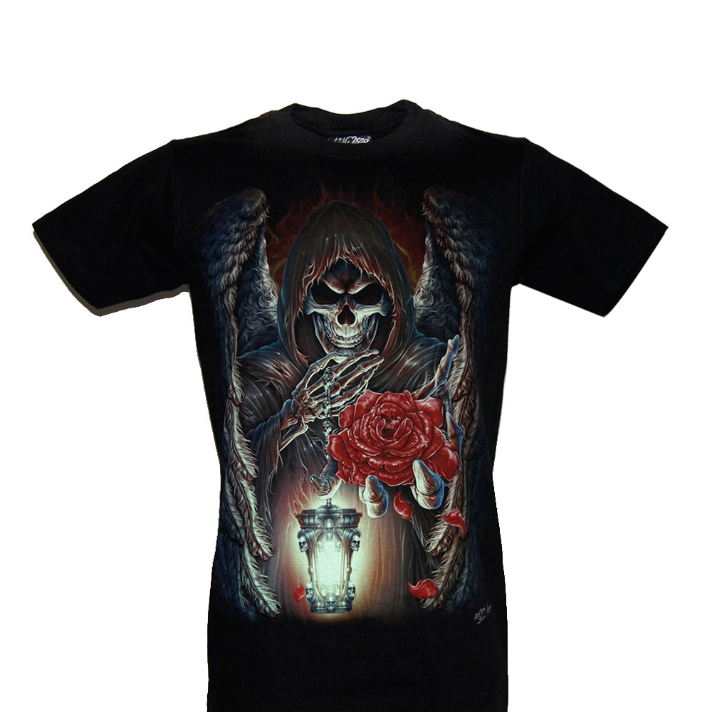 T-shirt Noctilucent Skull and Rose