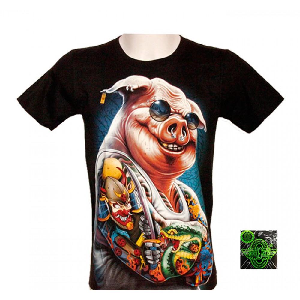 T-shirt Noctilucent Pig Man