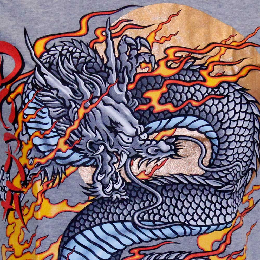 T-shirt with Dragon Grey