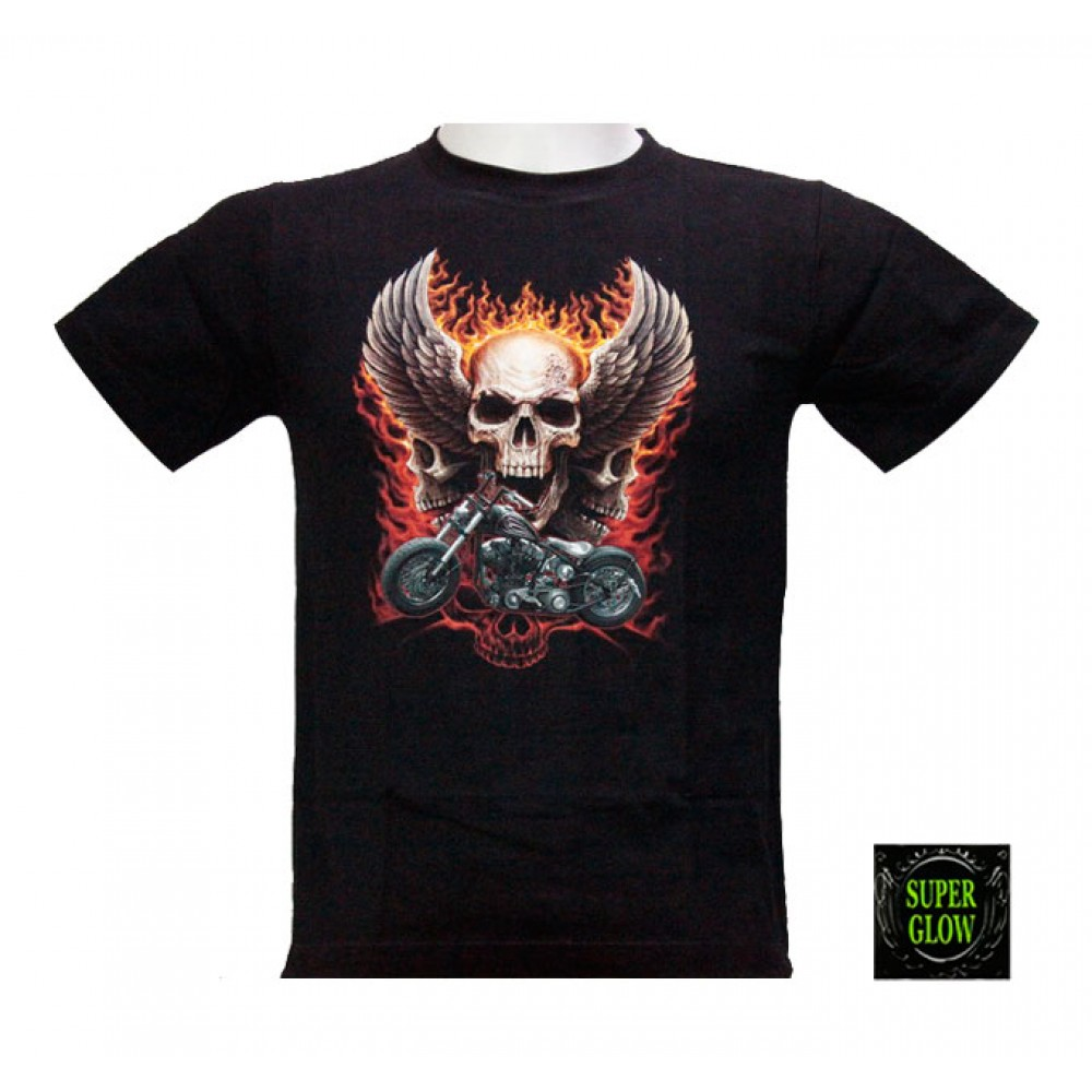 T-shirt Noctilucent Skull and Motorcycle Kid