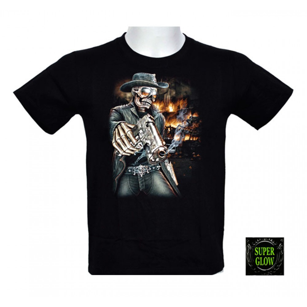T-shirt Noctilucent Skeleton with Pistol Kid