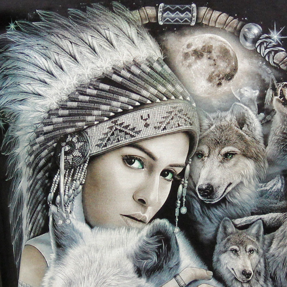 T-shirt Noctilucent Indian Woman and Wolf