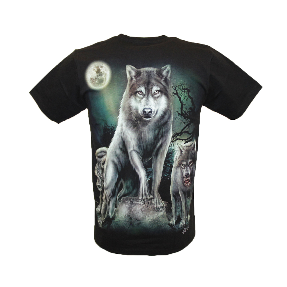T-shirt Wolves with Full Moon Bright in the Dark