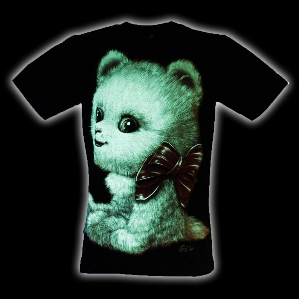 T-Shirt Cat with Bow Glow in the Dark