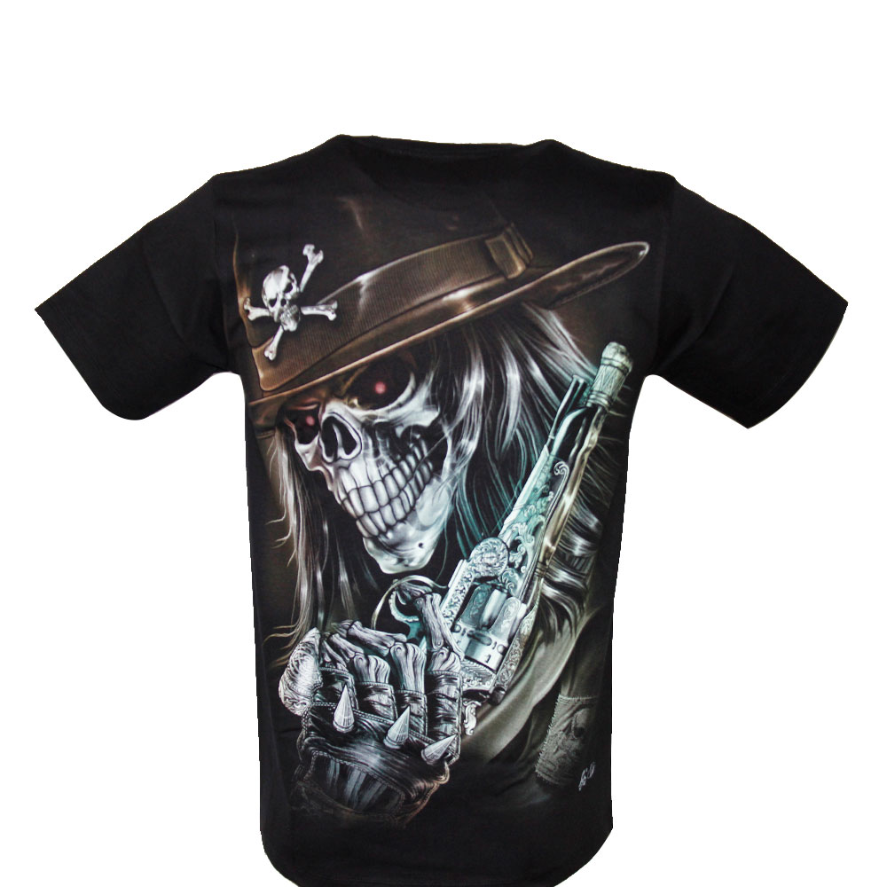 T-shirt Noctilucent Skull with Gun