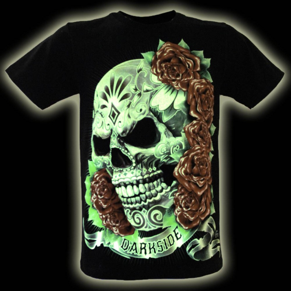 T-shirt  Skull and Rose Glow in the Dark