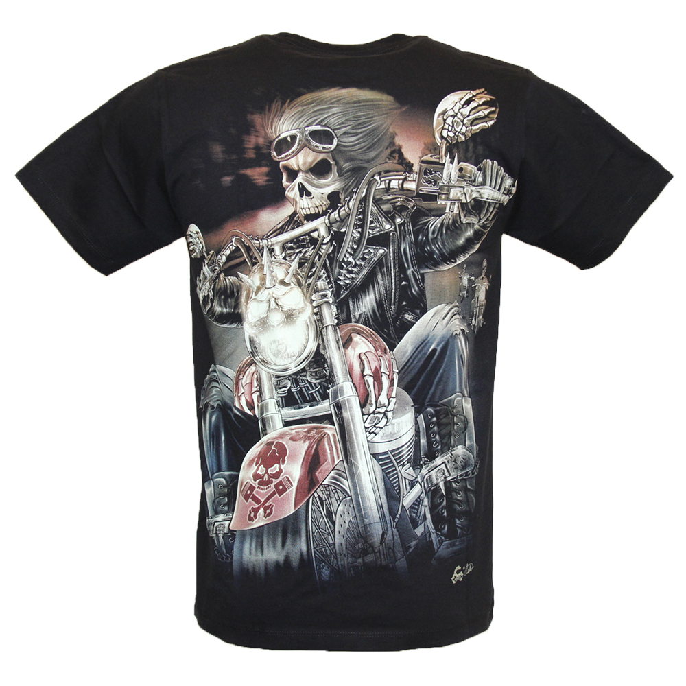 T-Shirt  Biker Skull Glow in the Dark