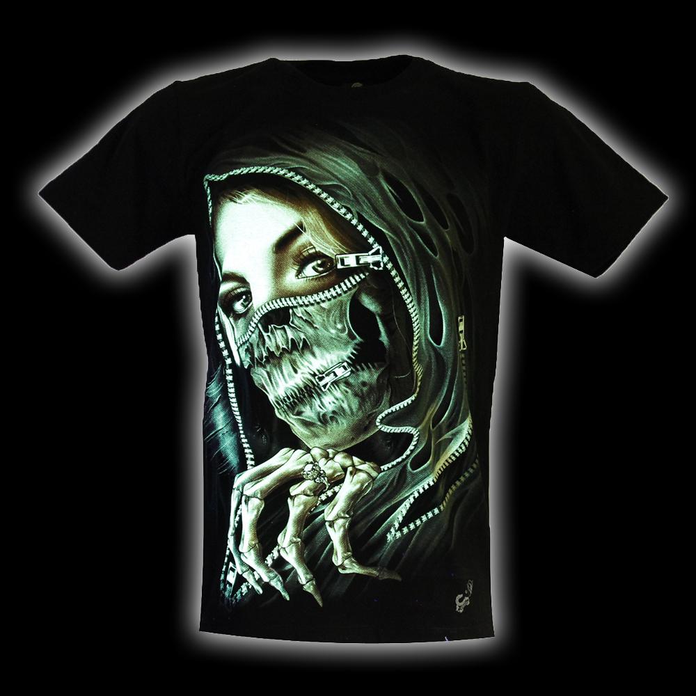 T-Shirt Skull Woman Glow in the Dark