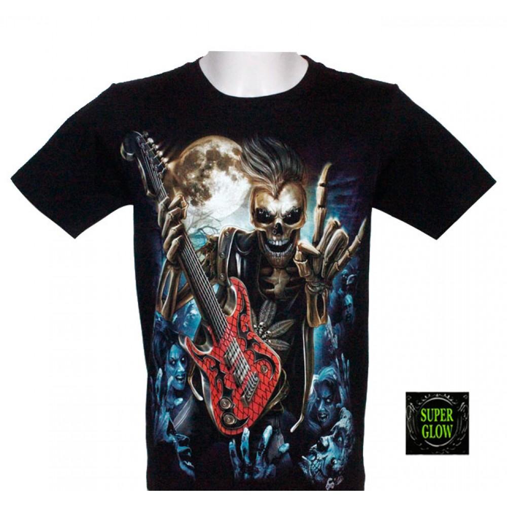T-shirt Noctilucent Skeleton with Guitar