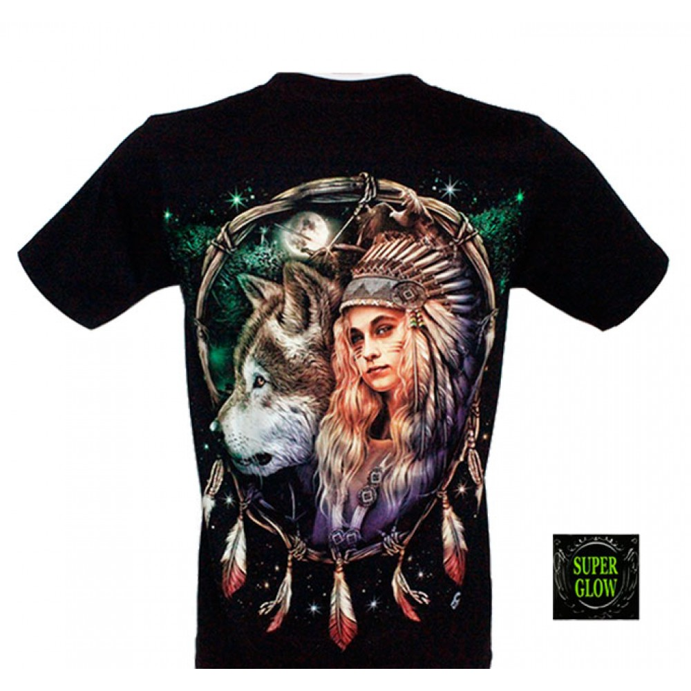 T-shirt Noctilucent Indian with Wolf