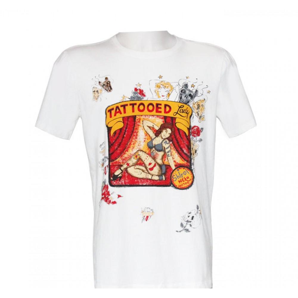 White T-shirt Minute Mirth Tattooed Woman