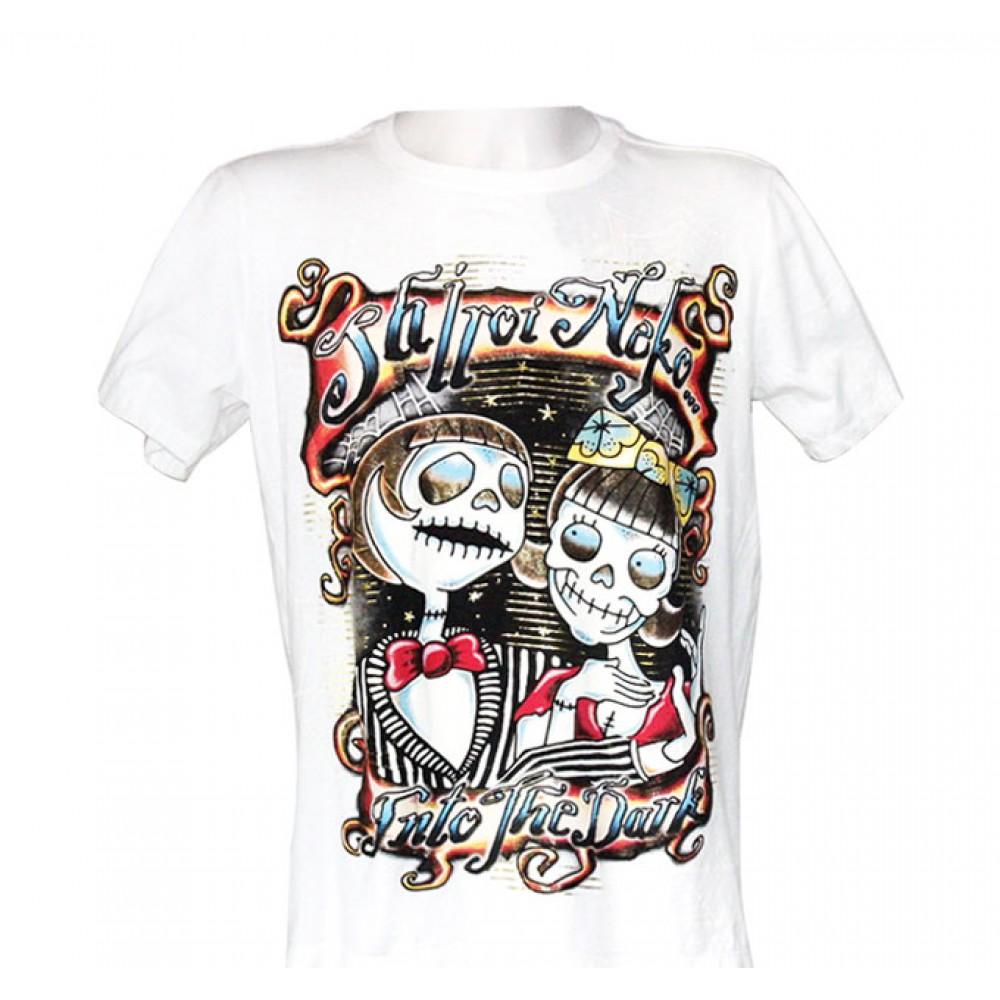 White T-shirt Skull Couple