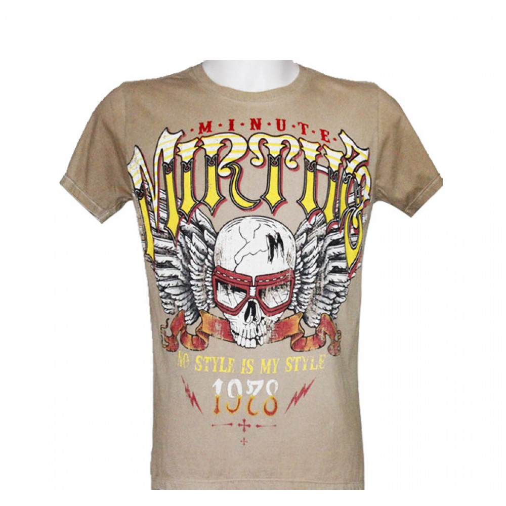 T-shirt Minute Mirth Skull and Motorcycle