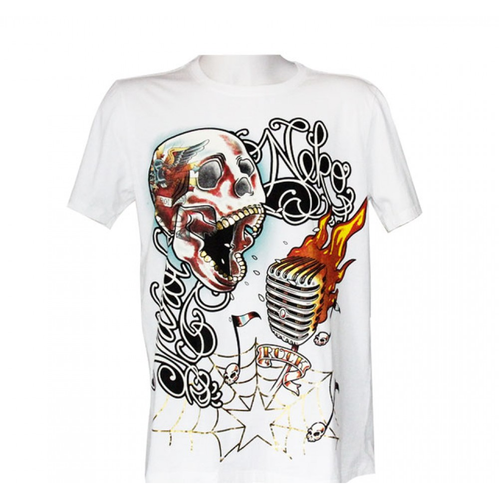 White T-shirt Minute Mirth Singing Skull